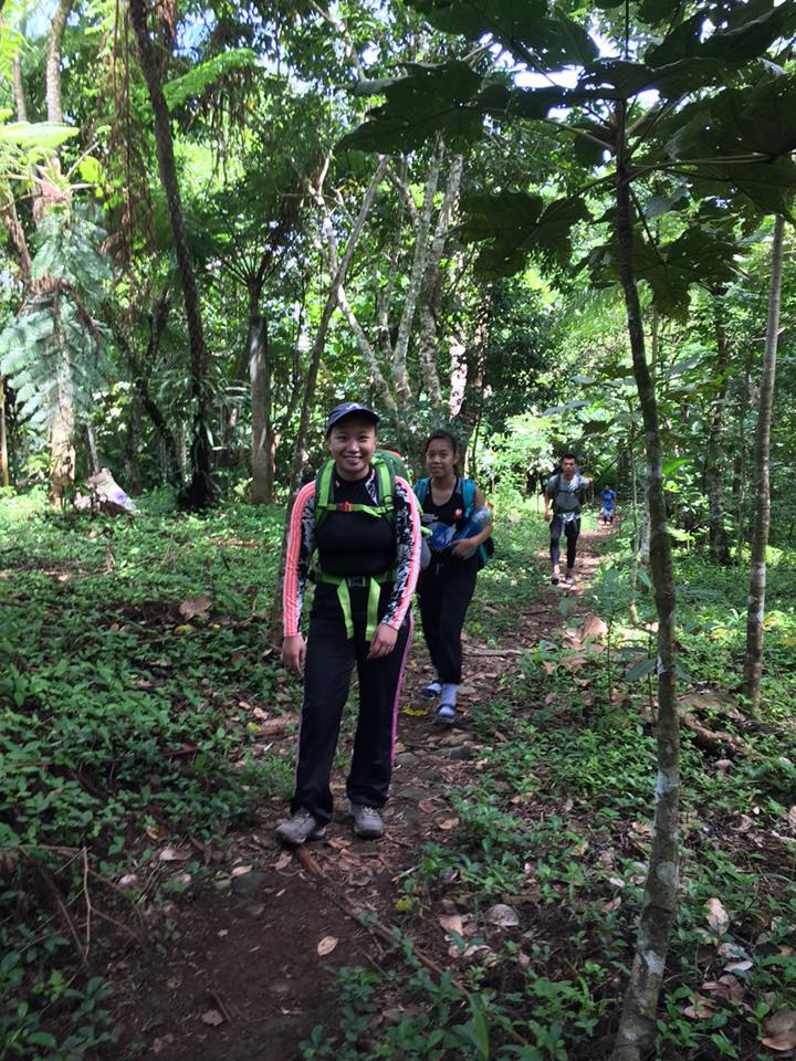 Kristel, Ole, followed by Angel on the trail to the summit of Mt. Isarog.
